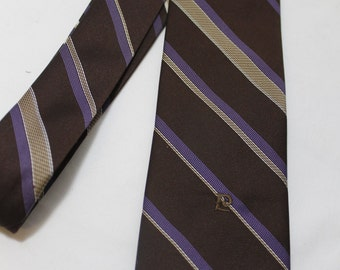 Vintage PIERRE CARDIN 3 Inch Wide Polyester Necktie, Brown  Purple Stripes