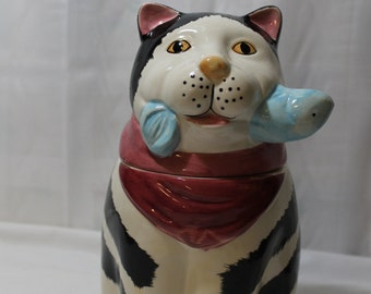Vintage Black and White Cat With Fish Cookie or Treat Jar