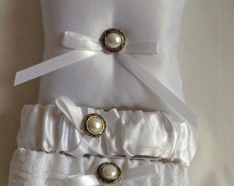 """Silver and White Ring Bearer Pillow, small simple bridal pillow, silver button white ribbon -- approx. 3"""" square"""