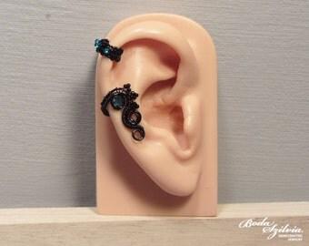 Morgana GOTHIC cartilage EAR CUFF - wire wrapped ear cuff, black ear cuff, no piecing ear cuff, adjustable ear cuff, gothic jewelry, earwrap