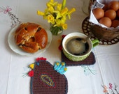 Crochet Hen Coasters, Easter Table Decor, Animal Coasters, Bird Coasters. Chicken Coasters (set of two)
