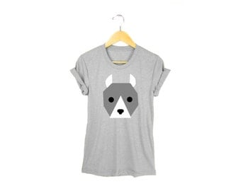Geo Pit Bull Tee - Boyfriend Fit Crew Neck T-shirt with Rolled Cuffs in Heather Athletic Grey and White - Women's Size S-4XL