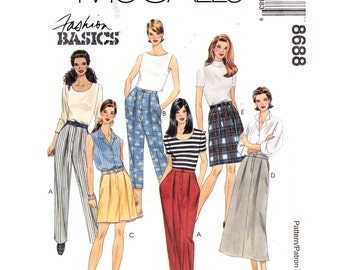 Womens Sewing Pattern McCalls 8688 Pleated Pants Shorts & Skirt Pattern Cropped Trousers Size 4 6 8 or 10 12 14 UNCUT