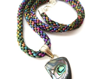 Vintage Unmarked Multicolored Peacock Woven Rope Extendable Necklace & Sterling Silver Multicolored Abalone Shell Pendant Necklace