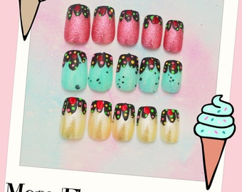 Ice Cream Fake Nails, Summer Nails, Ice Cream Press On Nails, Three Flavor Ice Cream, Cute, Sundae, Japanese Nail Art, Nail Art, Acrylic