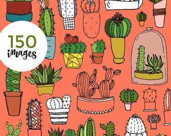 """150 Hand-drawn Cacti Clip-Art - """"Prickly One"""" w/ Instant Download!"""