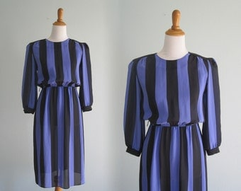 Vintage Black and Purple Awning Striped Dress - 80s Bold Stripe Secretary Dress - Vintage 1980s Dress S
