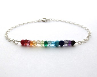 Rainbow Gemstone Bracelet. Delicate faceted genuine gemstone sterling silver bracelet