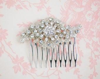 Rhinestone Hair Combb, Crystal Hair Comb, Silver Hair Comb,Wedding Hair Comb, Bridal Hairpiece,  Art Deco, Downton Abby, Victorian Wedding,