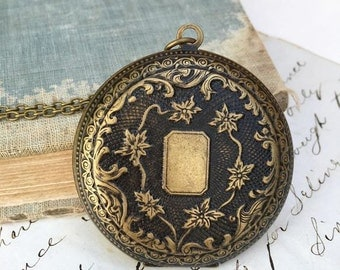 Antiqued LOCKET Pendant Large Round Photo Locket Necklace Victorian Downton Abby