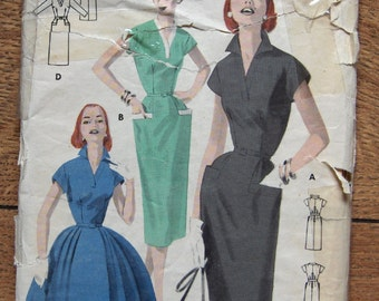 vintage 50s butterick pattern 7750 misses dress sz 18 b36 full or slim skirt
