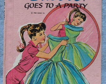 Vintage book BARBIE GOES To a  PARTY  1964 Wonder Books Easy Reader hc
