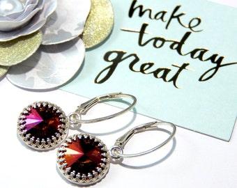 Fine Jewellery Sterling Silver Crown Bezel Mahogany Swarovski Crystal earrings-Reduced