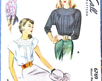 1940s Blouse McCall 6769 Misses' Blouse Printed Pattern  Vintage Sewing Pattern Bust 34 inches