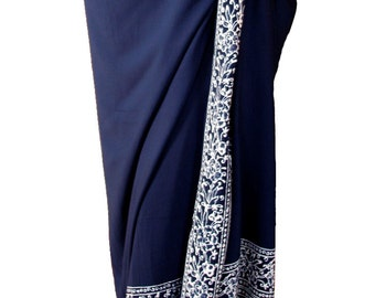 Beach Sarong Pareo Batik Sarong - Navy Blue & White Sarong Womens Clothing Beachwear Wrap Skirt or Dress Swimsuit Coverup