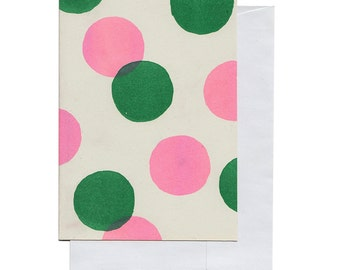 Pink and Green Big Circles... Riso Printed Notecard