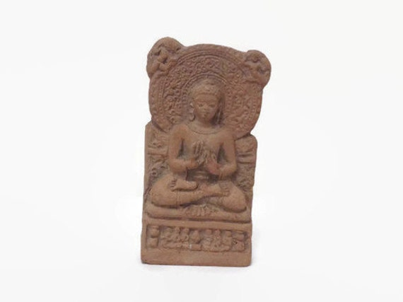 Buddha Terracotta Votive - Temple Offering - Tablet Plaque Amulet - Handmade Clay