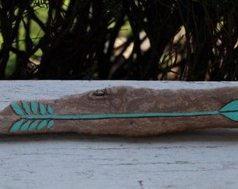 Boho Beach Driftwood Arrow , Hand Painted Nautical Decor , Coastal Art