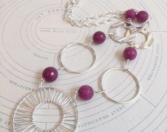 Pink Agate and Silver Ring Necklace Earring Set