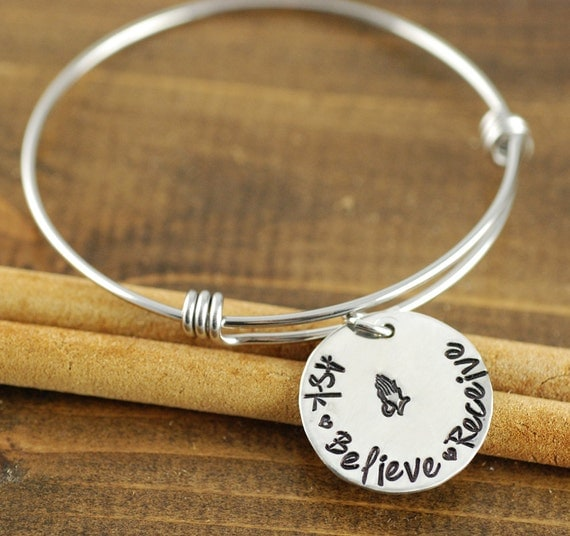 ASK.BELIEVE.RECEIVE, Hand Stamped Bangle Bracelet, Personalized Bangle, Inspirational Jewelry