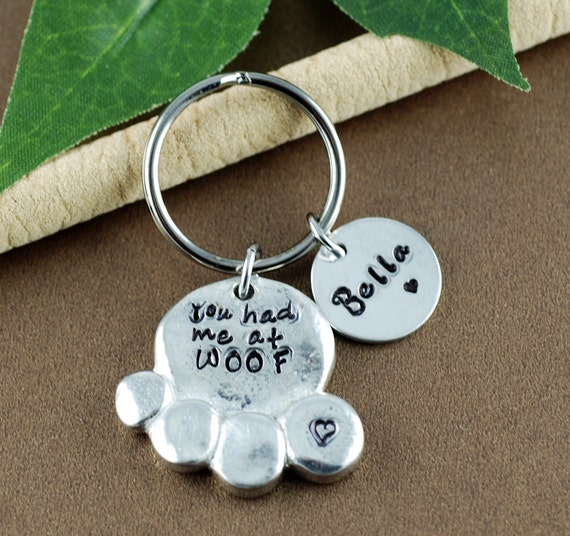 Personalized Dog Mom Key Chain | Dog Mom Keychain | Dog Paw Key Ring | I love My Dog Keychain | You had me at WOOF | Hand Stamped Dog Paw