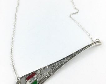 Mexico Necklace, Mexican Flag, Mexico Charm, Spoon Necklace, Spoon Jewelry, Mexico Jewelry, Mexico Gift, Mexico Woman, Mexico Souvenir