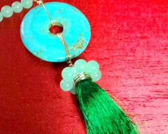 Green Jade Tassel Necklace