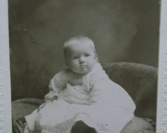 Antique Cabinet Photo-Baby Girl Sitting on Pillow-Lacy Dress