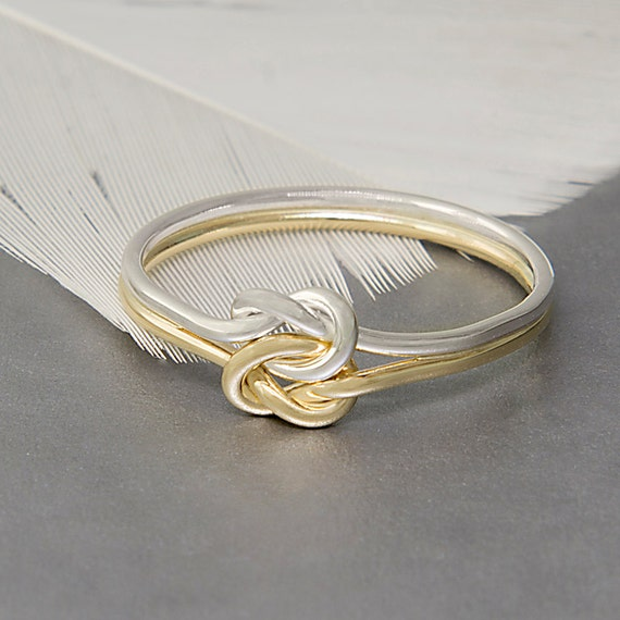 Double love knot alternative engagement ring made of 14k gold and sterling silver, perfect gift idea