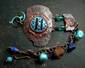 Deep Rapture - rustic, edgy, turquoise aqua blue enamel copper beaded handmade boho bracelet by Vintajia Adornments