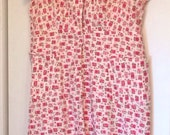 40s Pink and White Floral ShirtWaist Dress Plus Size