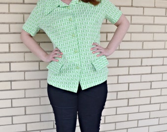 70s green blouse large, vintage mod print shirt,  1970s pointy collar top