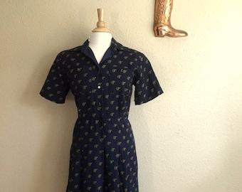Vintage 50s NOVELTY Print HORSE Dress / Womens Medium