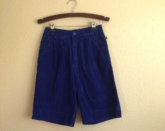 Vintage COBALT Blue Corduroy Shorts With POCKETS /  Womens Small Medium / ESPRIT Hipster Shorts