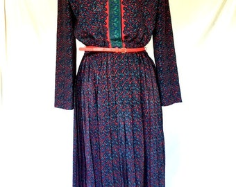 Vintage 80s RED and BLUE PAISLEY Dress / Leslie Fay / Large Extra Lage
