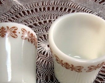 Vintage Milk Glass Mugs Copper Filigree Pyrex Chocolate Brown Set of Two