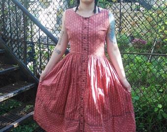 Vintage 1950s Red Hearts Novelty Print Day Dress M/L