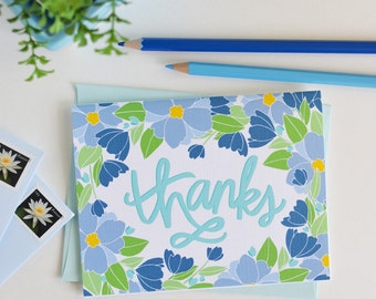 Thanks, Thank you, Floral, Flowers, Garden, Spring, Illustration, Notecards, Greeting Card, Handlettered