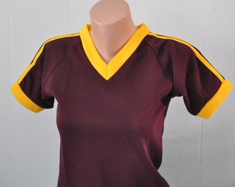 Blank Jerseys Tee V-Neck Vintage Dark Maroon Gold TShirt Ladies SMALL