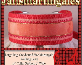 Janmartingales, Red Walking Lead, Dog Collar and Lead Combination, Greyhound, Large Dog Size, Red163