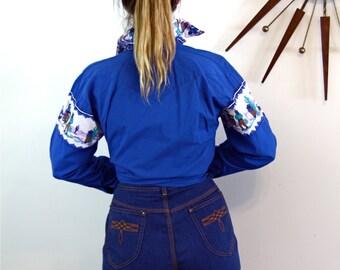 Vintage 70s SEARS Denim Shorts Super High Waisted Dark Blue Jean Short Pants Embroidered Back Pocket Hipster 1970s Womens Shorts L XL 10