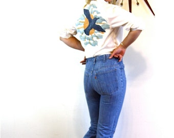 Vintage 70s Sears Denim Shorts Super High Waisted Jean