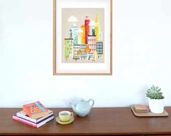 Large New York illustration Skyline, Travel Wall Art, Paper Art Print, Manhattan Art Print, Illustration, Home Office Decor Style NYLP01