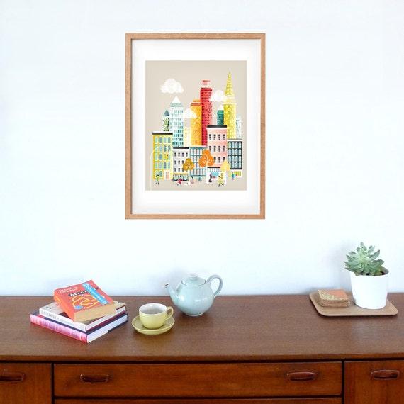 New York Skyline Print Art Poster, Travel Wall Art, Paper Art Print, Manhattan Art Print, Illustration, Home Office Decor Style NYLP01