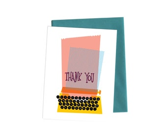 Vintage Typewriter Thank You Cards with Handwritten Typography, Boxed Set of Thank You Notes