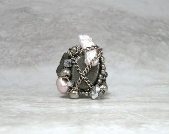 Chunky Ring - Funky Wire Wrapped Unique Chunky Ring in Pink Pearl & Grey Pyrite Sharona Nissan (Size 7.5)