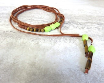 Leather Wrap Necklace Beaded with Neon Lime Green Turquoise, Brown Tigers Eye and Saddle Brown Deertan Leather (bracelet, armband, headband)