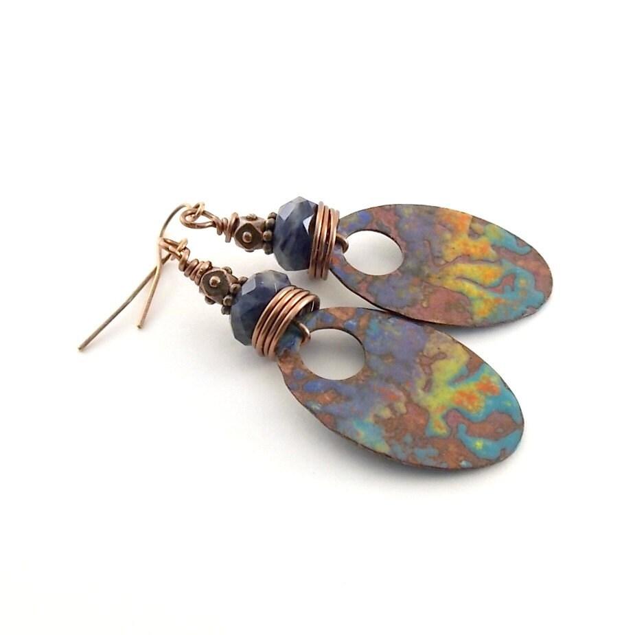 Artisan Earrings : Enameled metal earrings artisan industrial