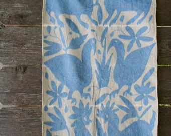 Vintage Mid Century Mexican Embroidered Otomi Table Runner Rustic Folk SALE