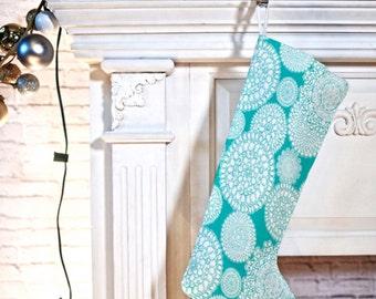 Boho Christmas Stocking // Christmas Decor // Christmas Decorating // Holiday Decor // Delightful Doilies Tiffany Aqua Design // Winter